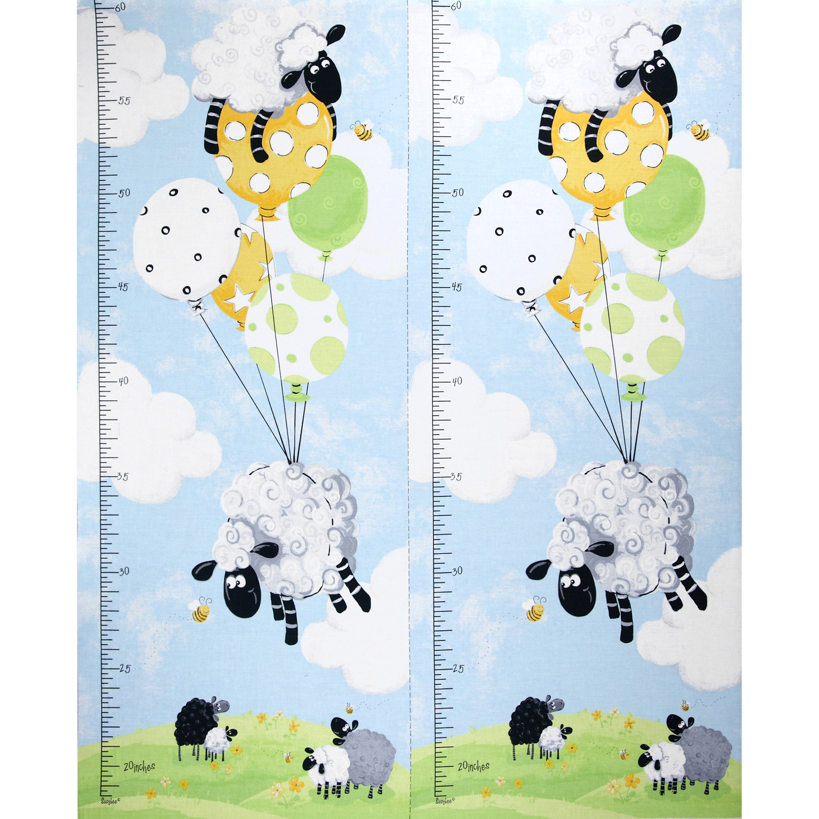 Lewe's Balloons Lewe Growth Chart Blue Fabric by Susybee in USA