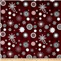 Icy Winter Silver Metallic Snowflakes Burgundy
