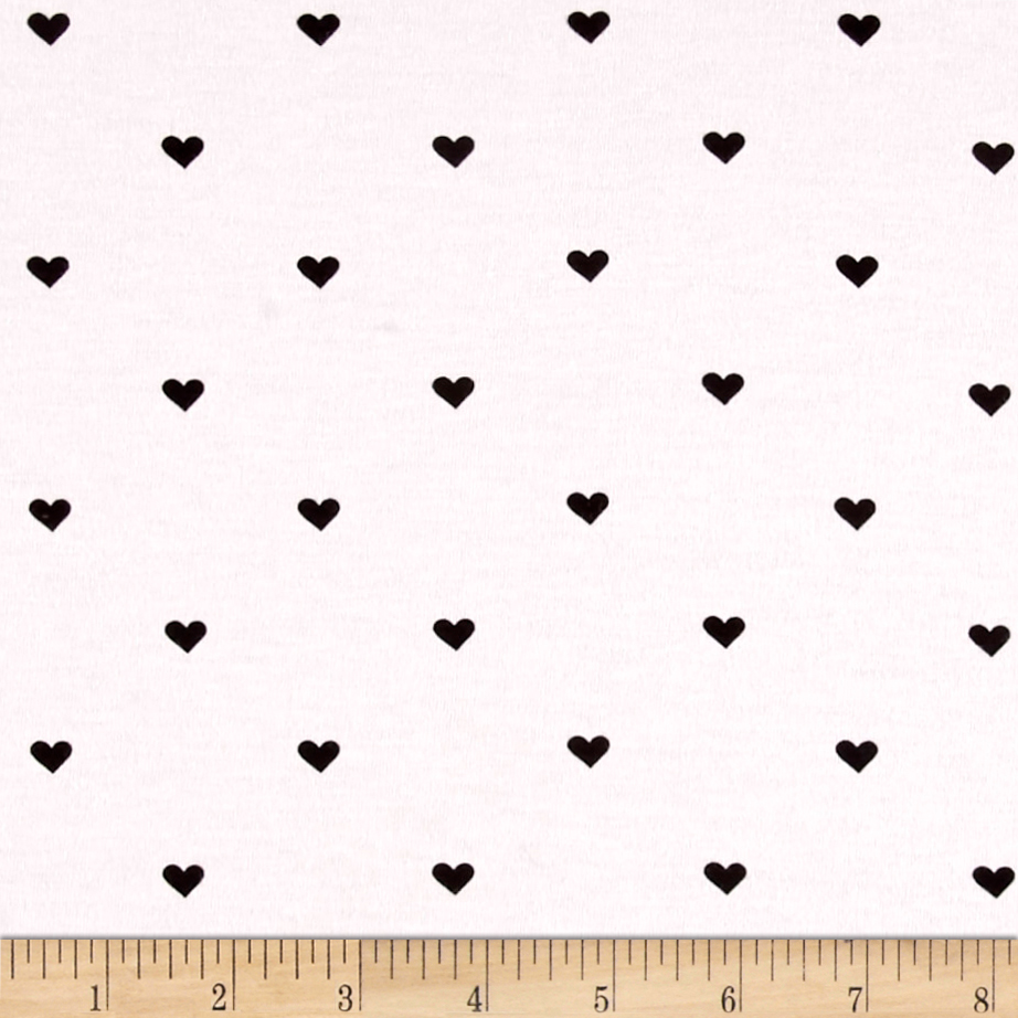 Riley Blake When Skies Are Grey Jersey Knit Heart Black Fabric
