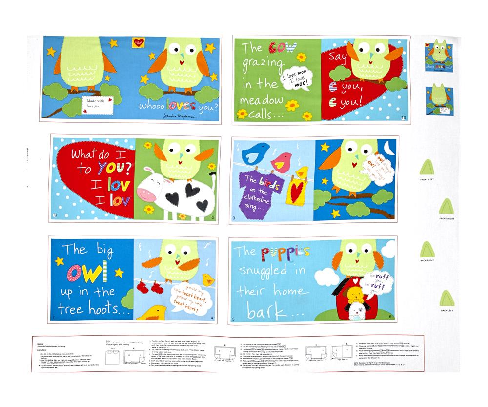 Huggable & Loveable Whooo Loves you Soft Book 35.5'' Panel Multi Fabric