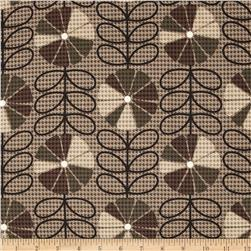 Kanvas Boy Meets Girl Houndstooth Poppy Taupe Fabric