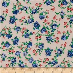 Rayon Challis Baby Dress Floral Putty/Blue