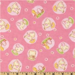 Camelot Flannel Hey Diddle Diddle Pink Fabric