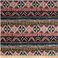 Techno Scuba Knit Aztec Tribal Coral/Blue