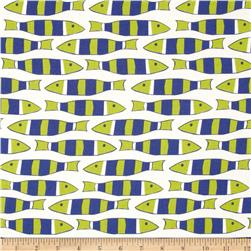 Moda Beach House Picket Fish White/Royal/Lime