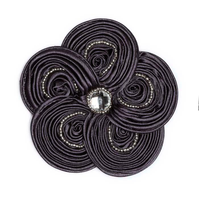 Victoria 3-1/2'' Silky Ribbon Brooch Grey