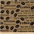 Printed Burlap Coffee Beans Natural/Black
