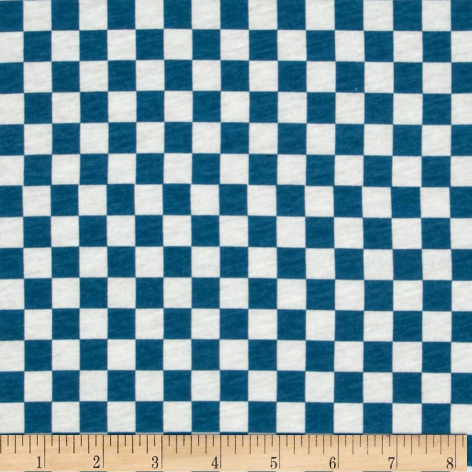 Stretch Cotton Jersey Knit Checkered White/Blue