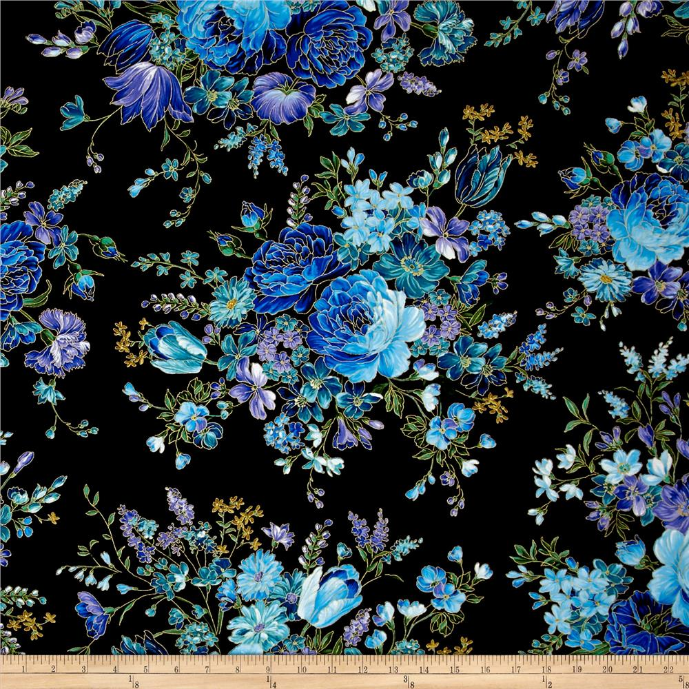Timeless treasures metallic enchanted main floral black for Buy black and blue roses