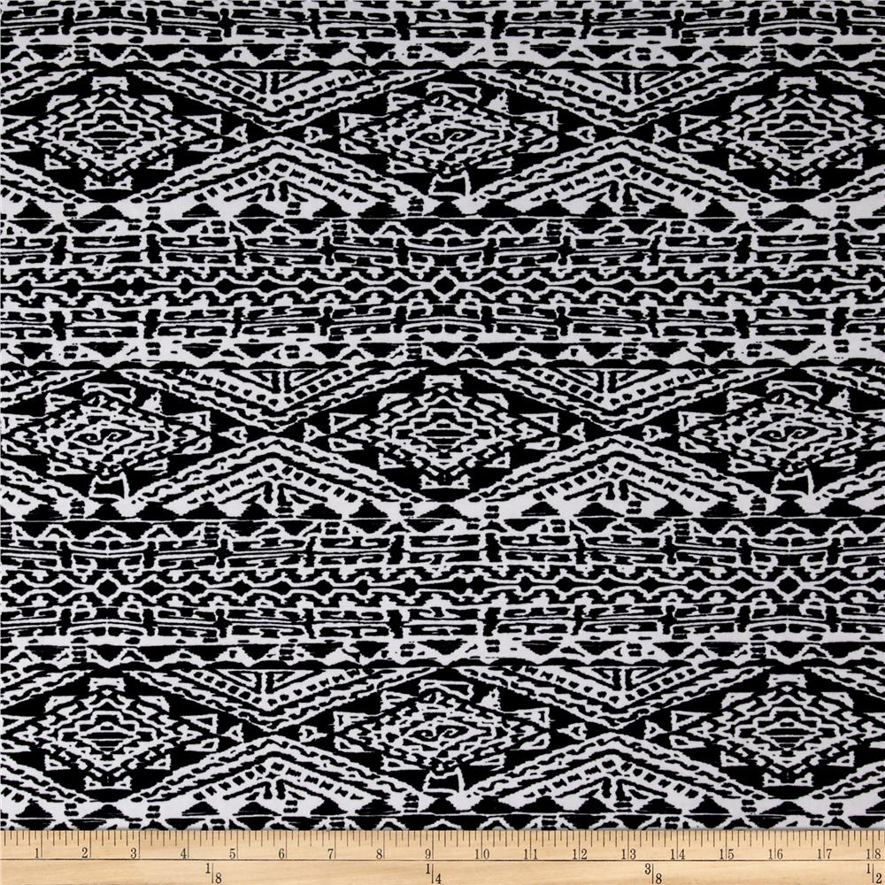 Stretch ITY Knit Aztec Print Black/White