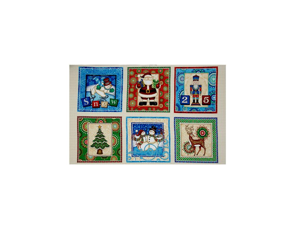 Santa Coming To Town Christmas Picture Patches 24 In. Panel Multi Fabric