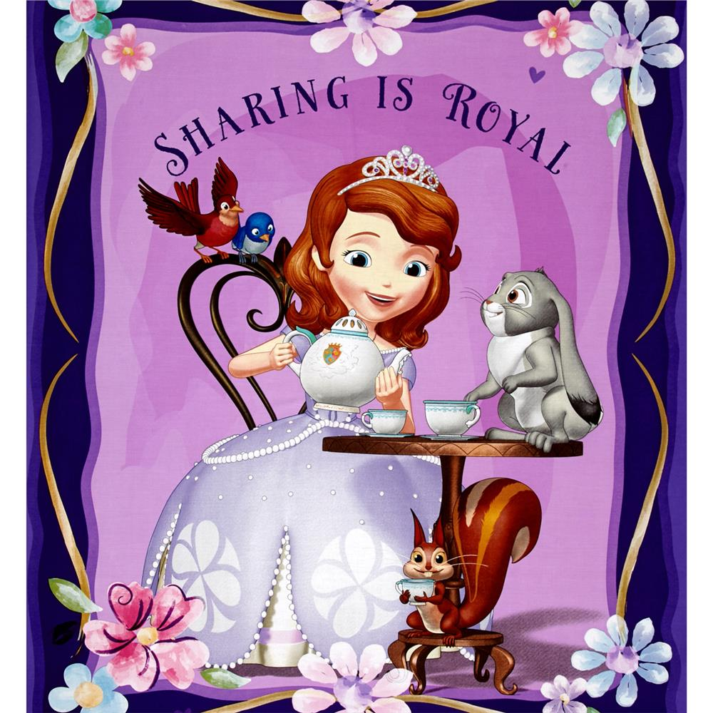 Disney Sofia the First Panel Purple Fabric By The Yard