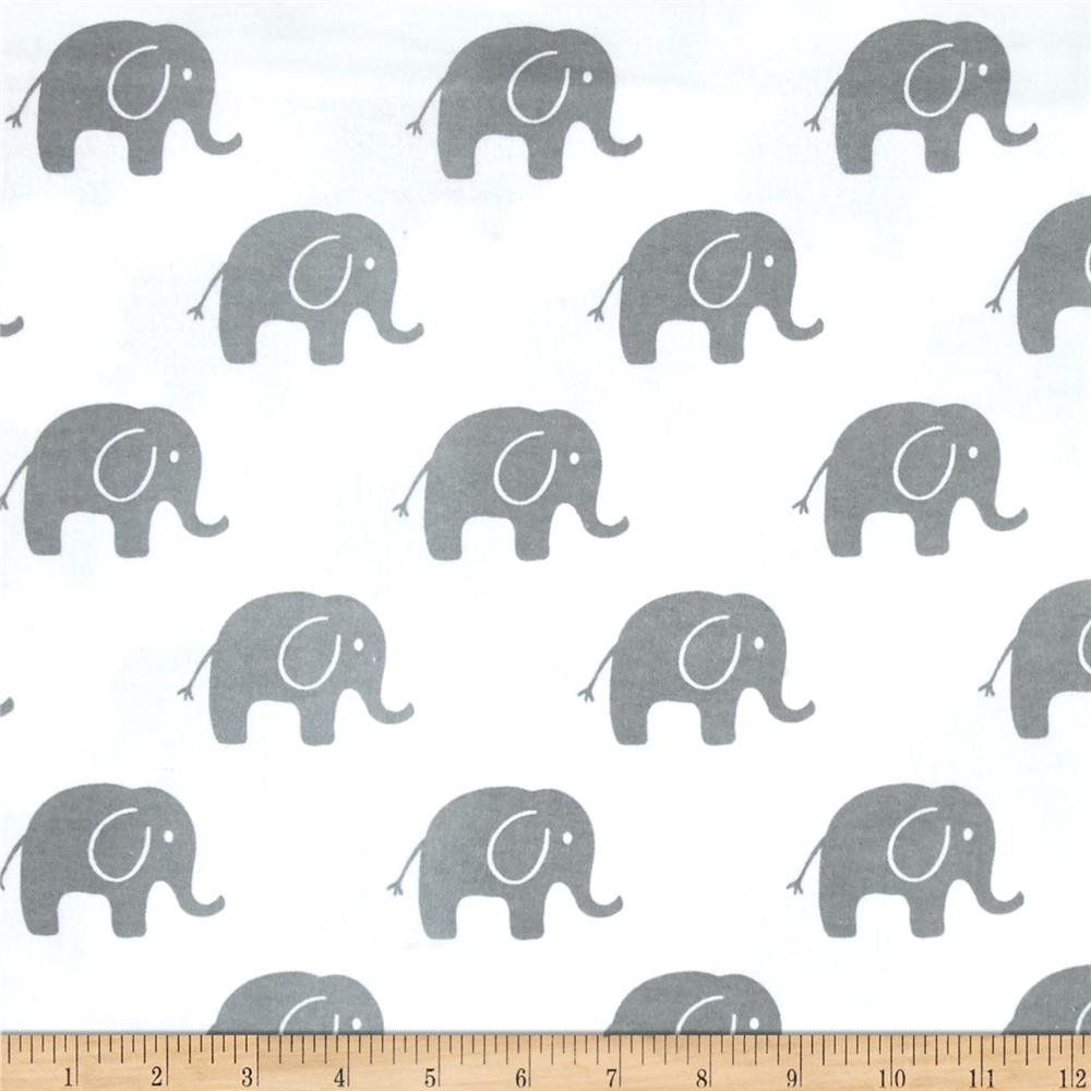 Comfy  Flannel Elephants    White