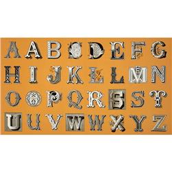 Letter Stitch Large Antique Typography Orange