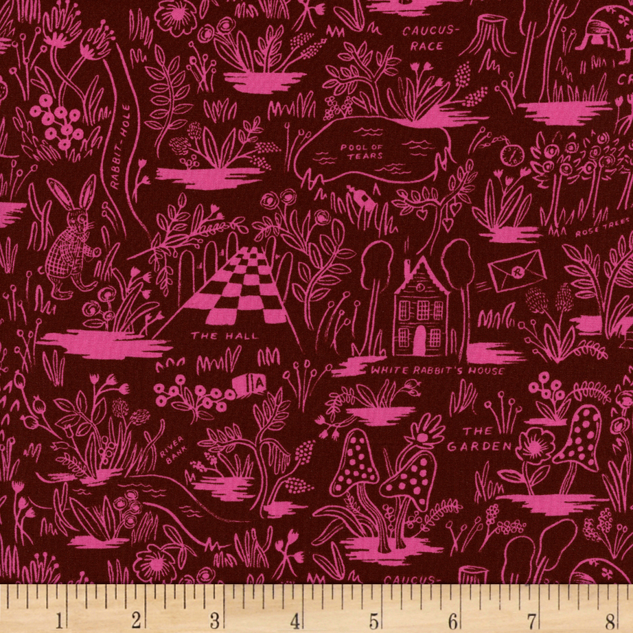 Image of Cotton + Steel Rifle Paper Co. Wonderland Rayon Challis Magic Forest Ruby Fabric