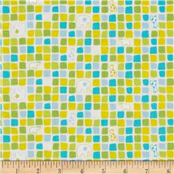 Savanna Bop Animal Squares Lime/Yellow Fabric