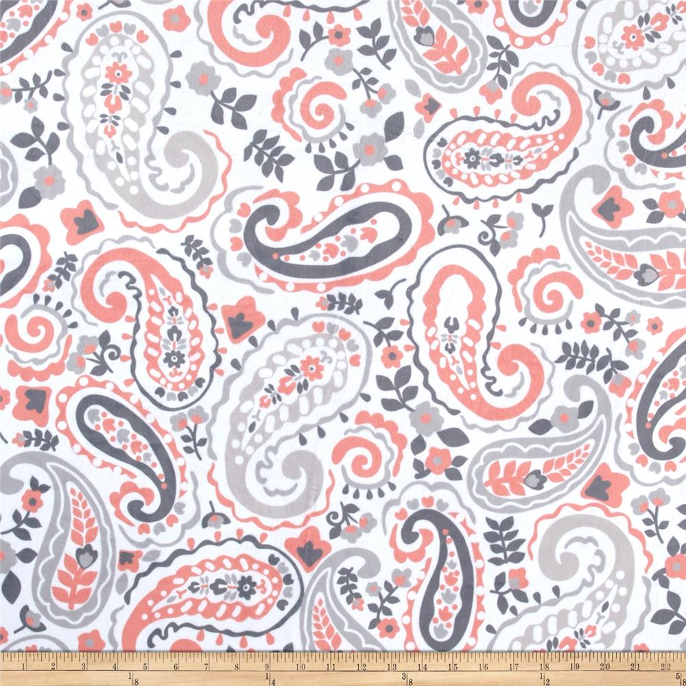 Minky kashmir paisley grey coral discount designer for Grey baby fabric
