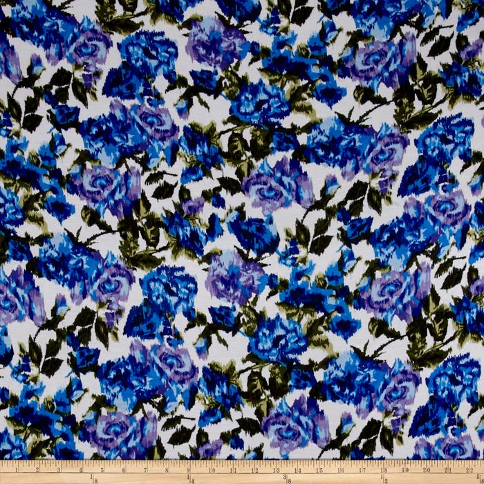 Jersey Knit Large Flower Blue