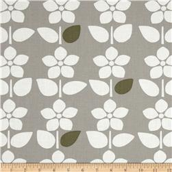Contempo Brigitte Large Floral Stripe Grey/White