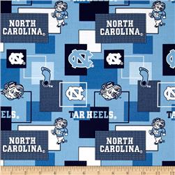 Collegiate Cotton Broadcloth University Of North Carolina Block Print Blue