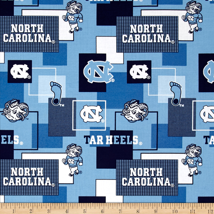 Collegiate Cotton Broadcloth University Of North Carolina Block Print Blue Fabric by Sykel in USA