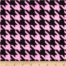 Minky Houndstooth Bubblegum/Black