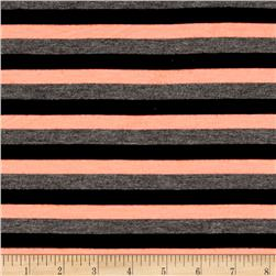 Yarn Dye Jersey Knit Stripe Peach/Black/Gray