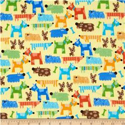 Comfy Flannel Funky Dogs Yellow