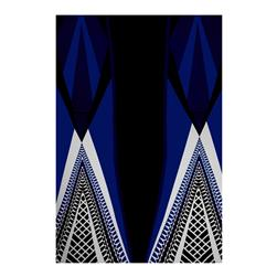 ITY Stretch Jersey Knit Geometric Stripes Royal Blue/Black