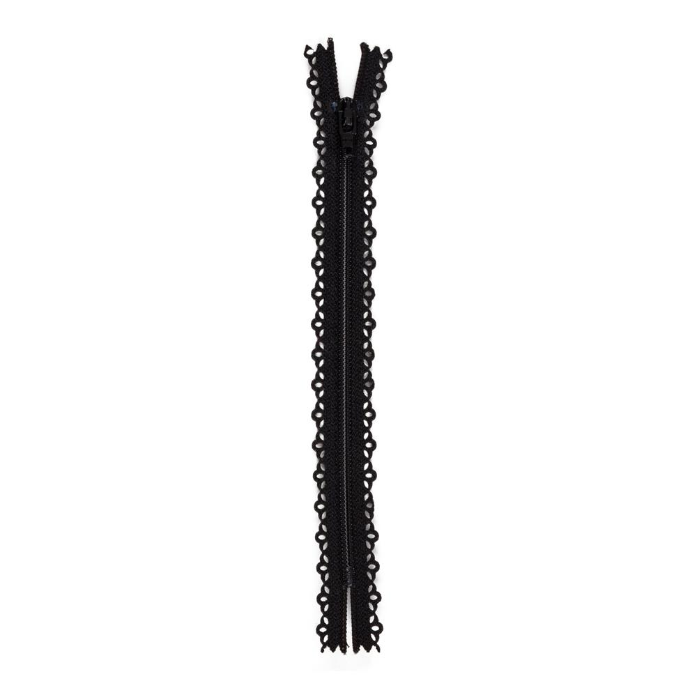Fashion Cutwork Zipper 7'' Black