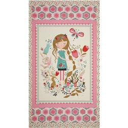Beautiful Garden Girl 24'' Panel Pink