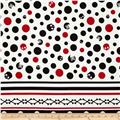 Kokka Skull Dots Double-Border Stripe White
