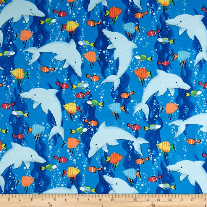 Flannel Dolphins Blue