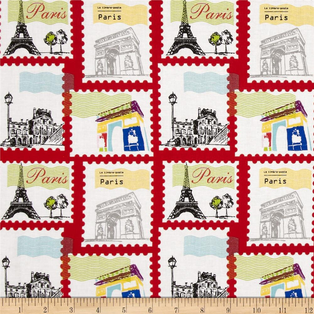 Riley Blake Pepe in Paris Stamp Red