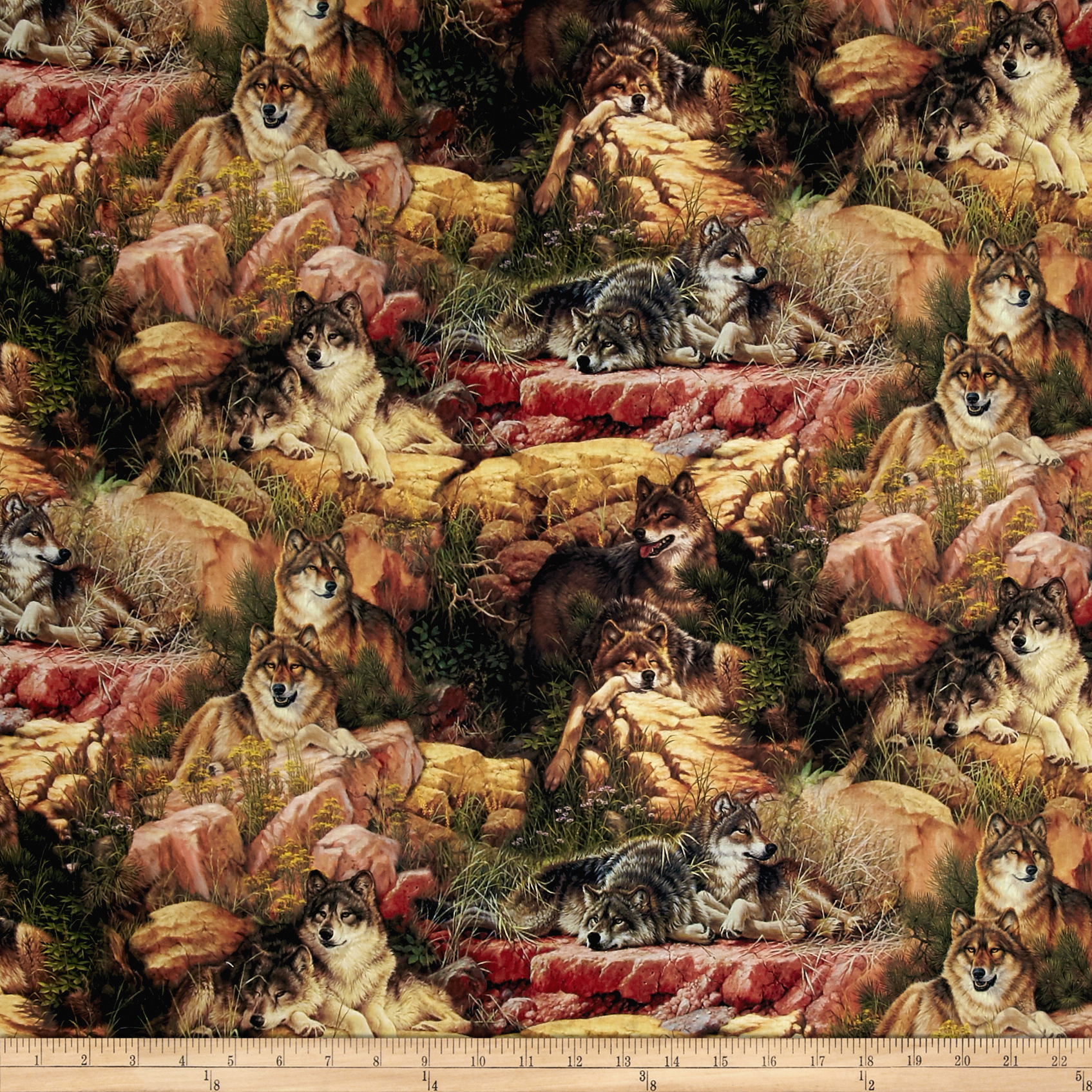 Animal Reign End Of Summer Digital Print Multi Fabric by David in USA