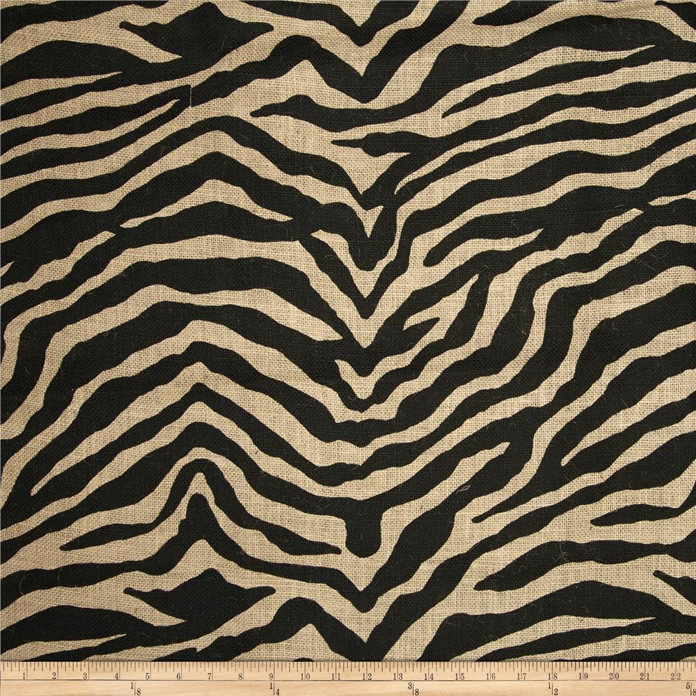 Bartow Zebra Printed Burlap Black/Natural