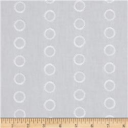 Kaufman Rebecca Embroidered Poplin Circles White