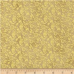 Moonlight Peacock Metallic Filigree Gold/Gold Fabric