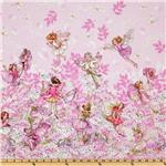 Michael Miller Petal Flower Fairies Double Border Stripe Pink