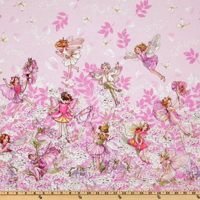 Michael Miller Petal Flower Fairies Double Border Stripe