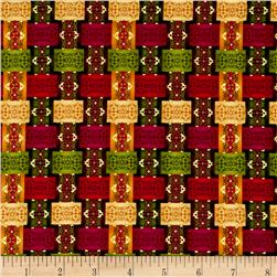 Winter Garden Metallic Holiday Ribbon Plaid Burgundy