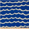Cotton + Steel Kujira & Star Canvas Waves Blue Sea