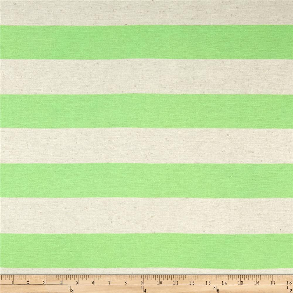 Jersey Knit Large Stripe Neon Green on Ivory Fabric By The Yard