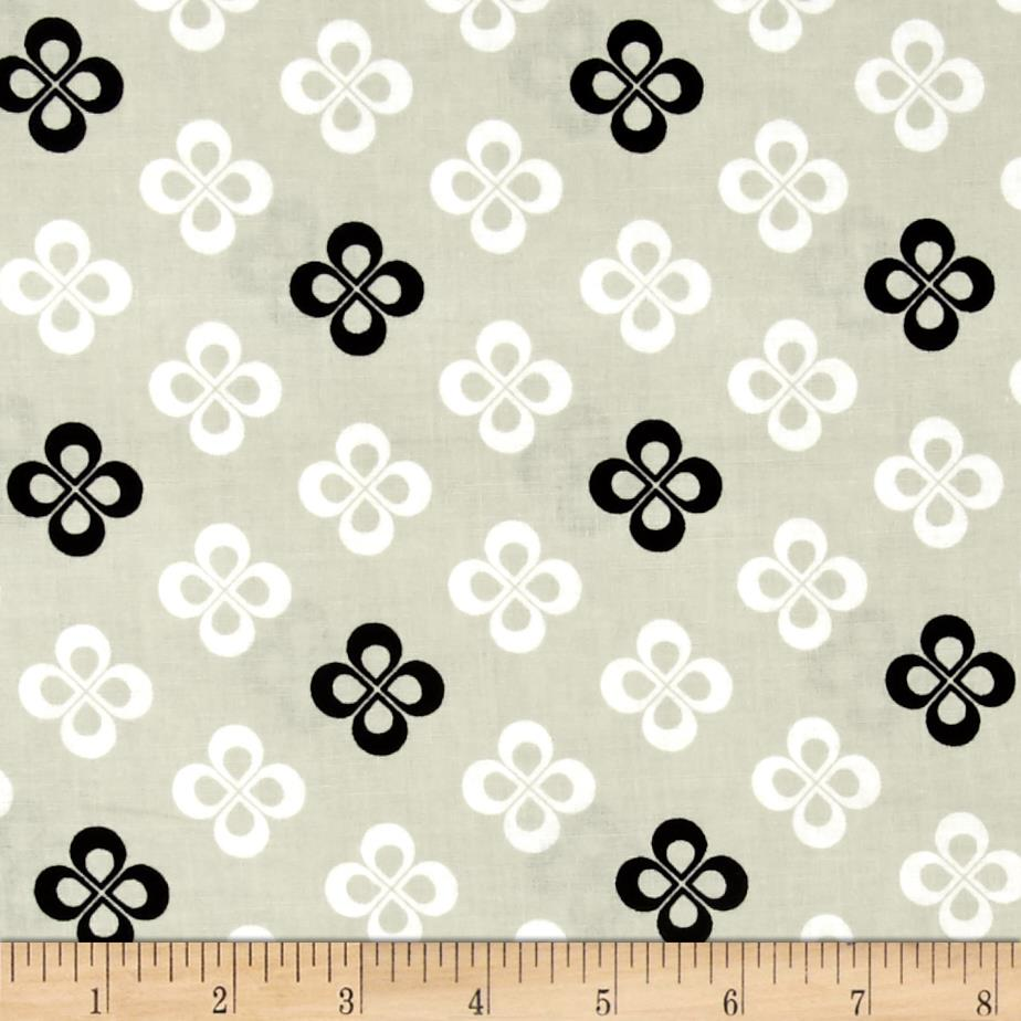 Cotton + Steel Black and White Clover Natural