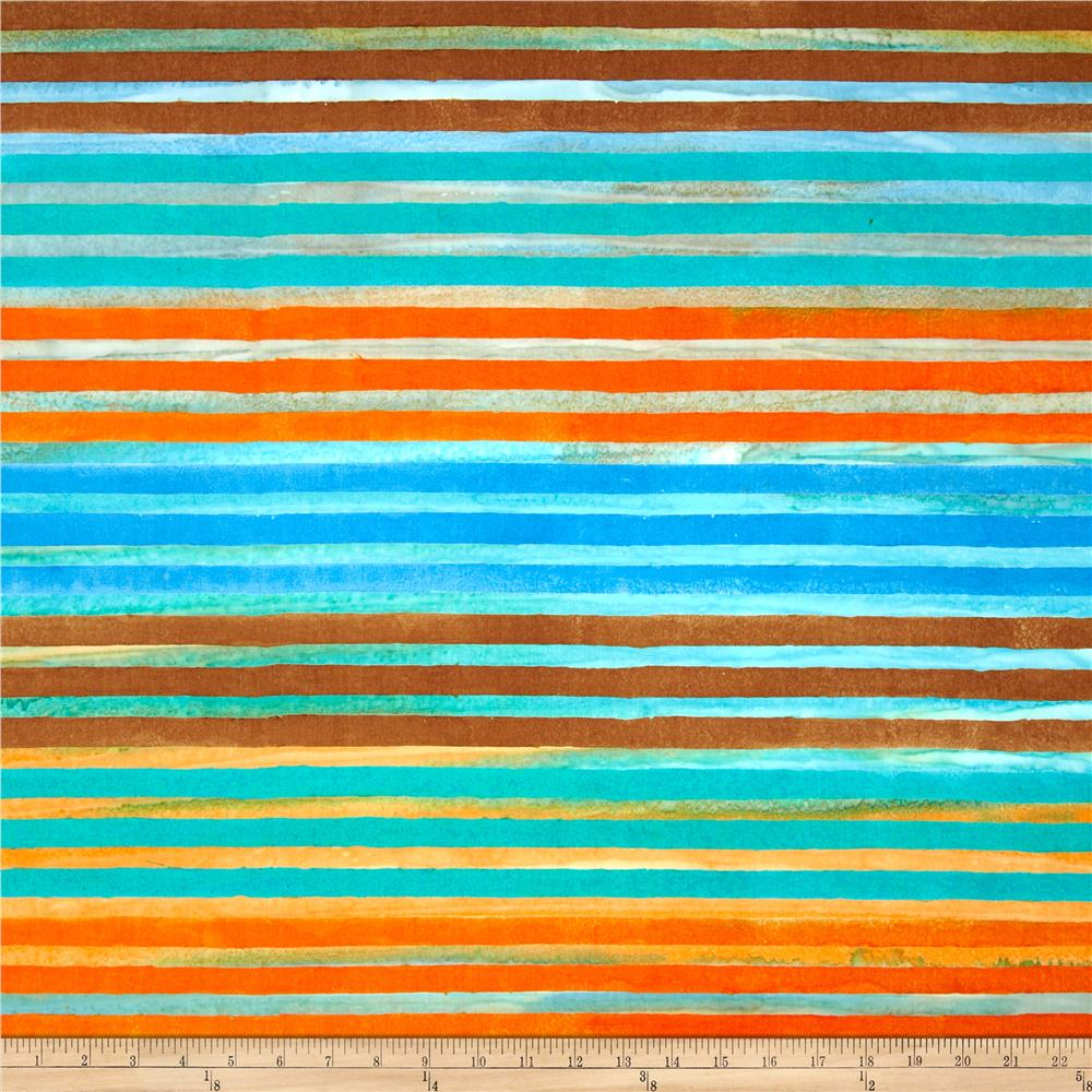 Artisan Batik Elementals Stripes Retro Blue