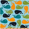 Urban Zoologie Slicker Laminated Cotton Whales Ocean