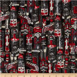 Kanvas Totem Pole Black/Red Fabric