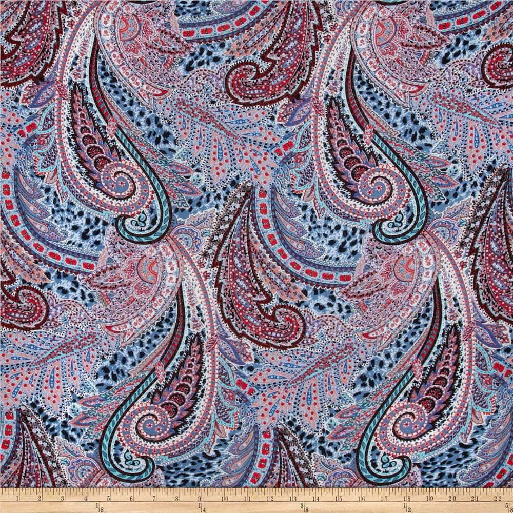 Telio Rayon Voile Abstract Light Blue/Red/Multi