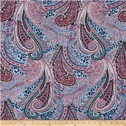 Rayon Voile Abstract Light Blue/Red/Multi