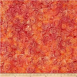 Batavian Batiks Spinning Circles Red/Orange